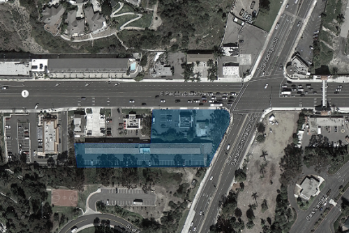 An aerial view of land owned (highlighted in blue) by the Doheny Hotel developer, Michael Draz.Courtesy photo
