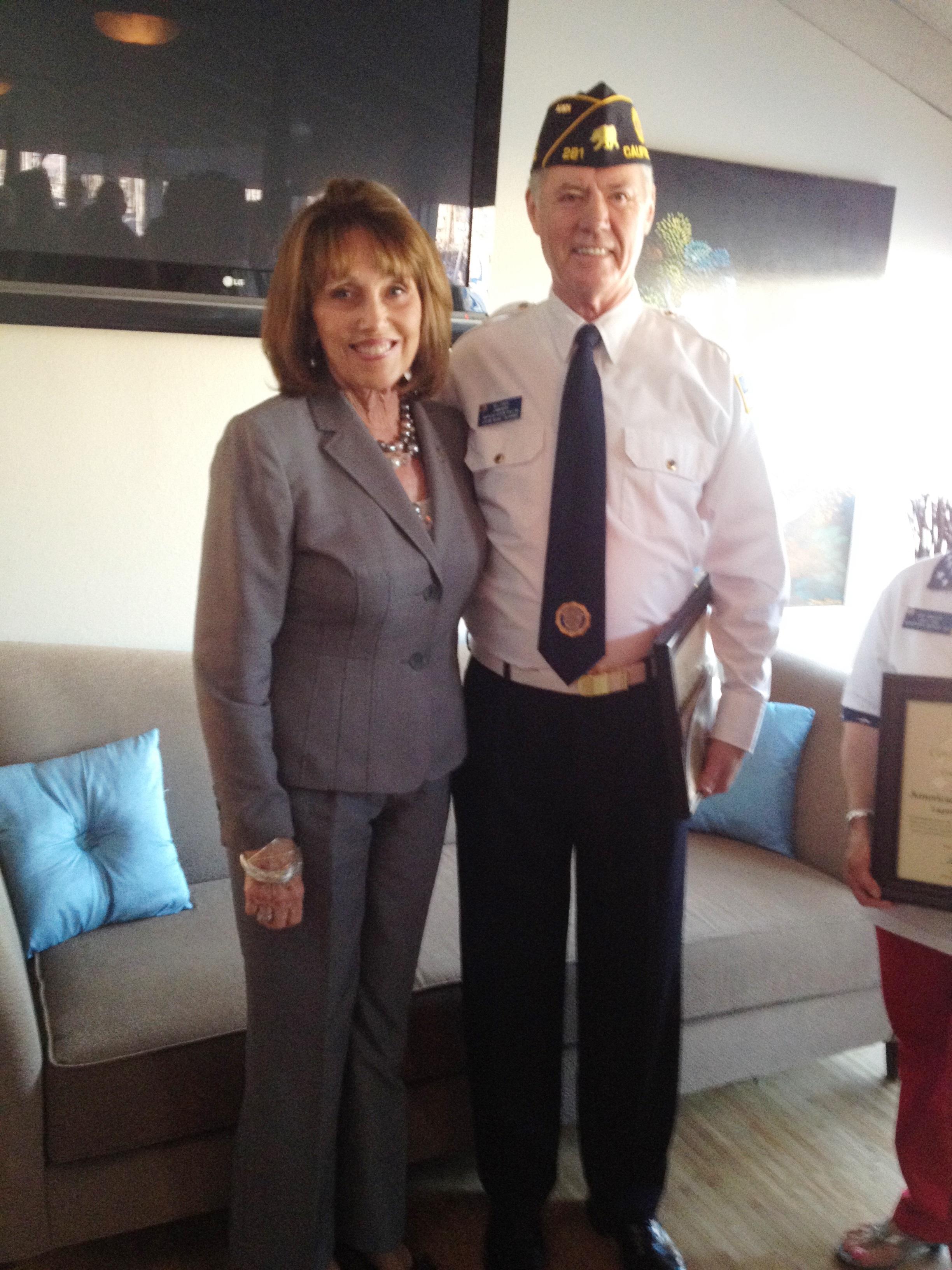 Orange County Supervisor Pat Bates and American Legion Post 281 commander Bill Leber. Photo by Andrea Papagianis