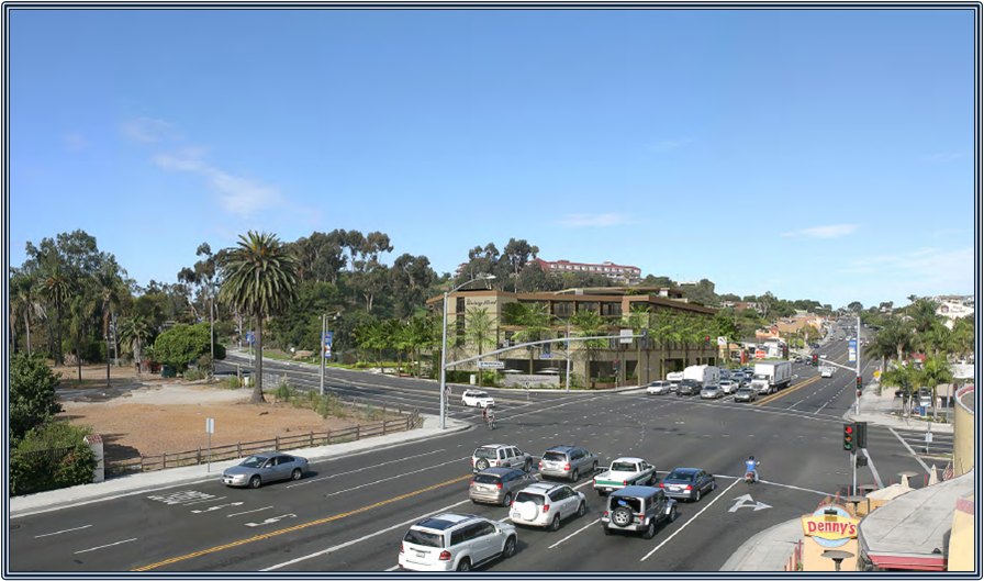 An architect's rendering shows the corner of Pacific Coast Highway and Dana Point Harbor Drive with an image of the proposed Doheny Hotel. Courtesy of Langdon Wilson International