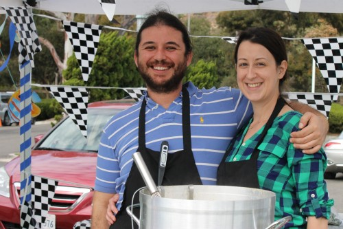 The Real Deli owners, Charlie Mattouk and Alicia Matos, serve up chowder at the Festival of Whales in March. Photo by Andrea Papagianis