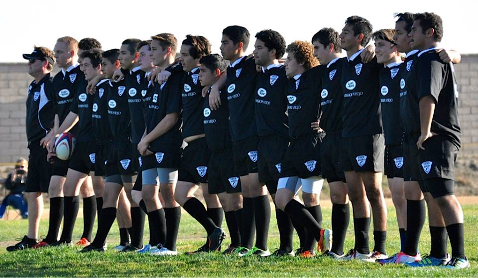The Dana Hills rugby club lines up before taking the field. The team is off to a 4-0 start in their inagural season. Photo by Keith Falk