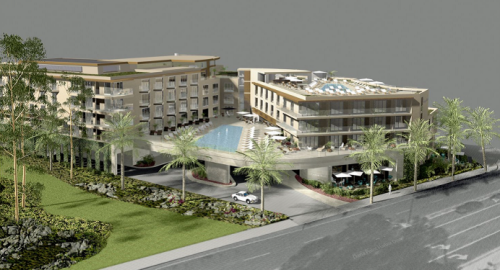 The proposed Doheny Hotel plans call for a 258-room two- to five-story structure at Dana Point Harbor Drive and Pacific Coast Highway. Rendering courtesy of Langdon Wilson International