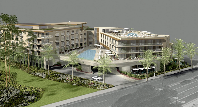 Doheny Hotel plans call for a more than 250-room two- to five-story structure at Dana Point Harbor Drive and Pacific Coast Highway. The hotel's developer, Beverly Hills Hospitality Group, is expected to present updated plans at the Planning Commission's April 14 meeting. Rendering courtesy of Langdon Wilson International