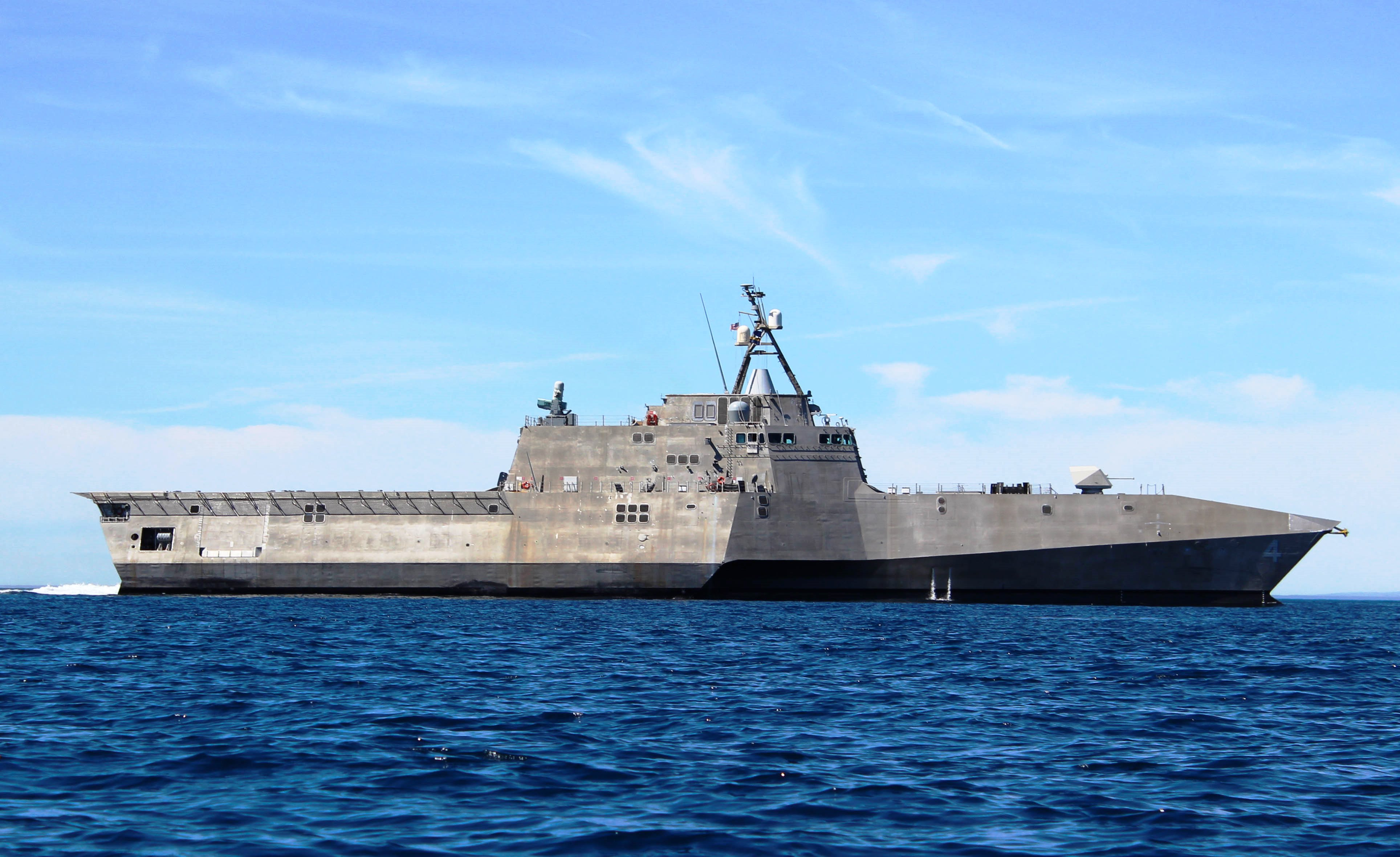 The USS Coronado made an appearance near Dana Point Sunday. The littoral combat ship, designed for coastline operations, is under two commands, one of which is headed by Dana Point native, Cmdr. John Kochendorfer. Photo by Shannon O'Neill