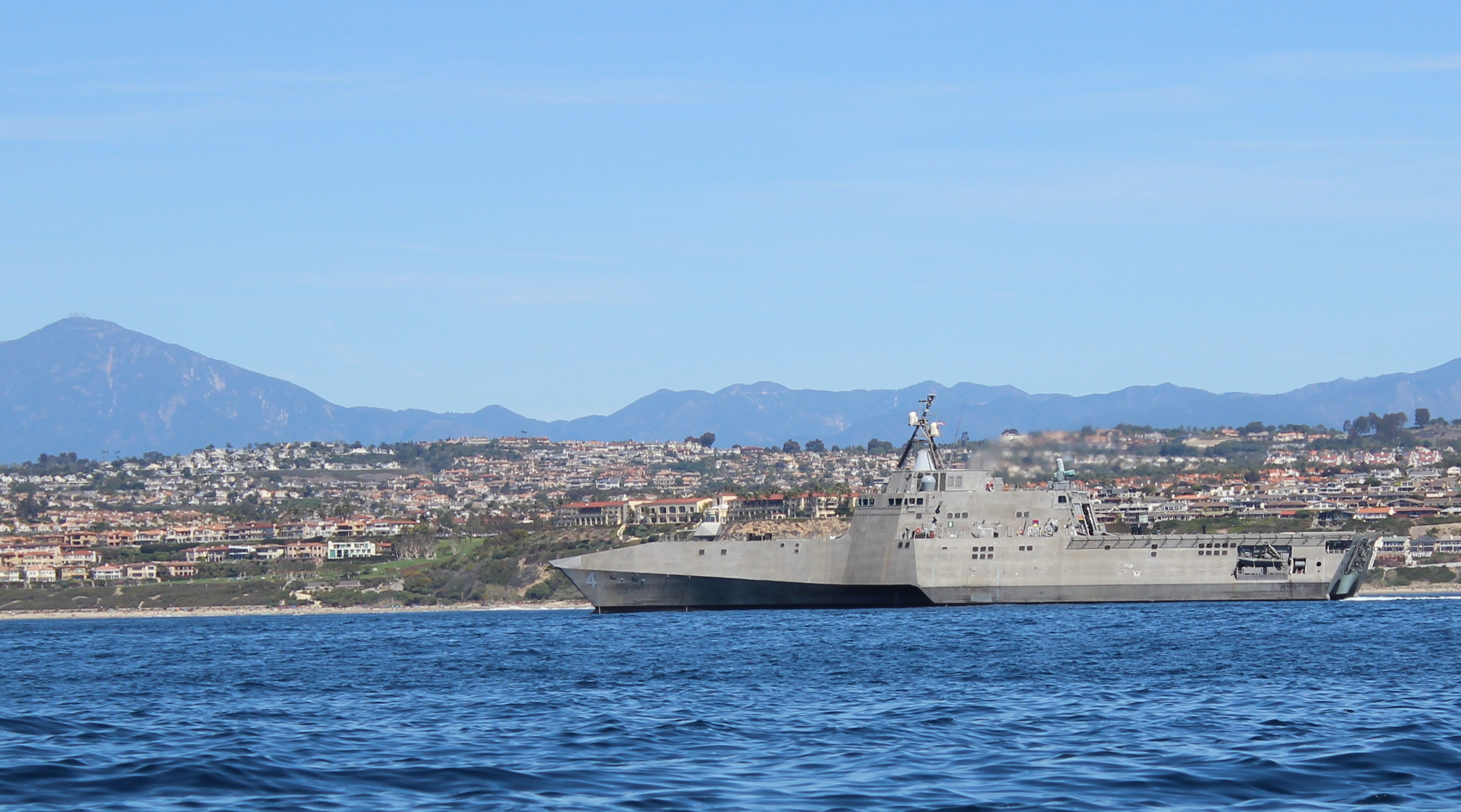 USS Coronado off the south Orange County coastline. Photo by Shannon O'Neill