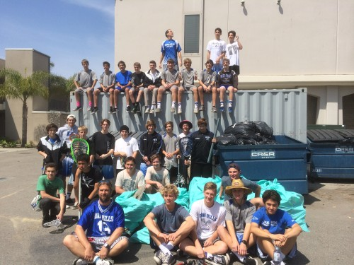 The Dana Hills boys lacrosse program cleaned up their school on March 29 and raised $3,000 for their team in the process. Courtesy photo