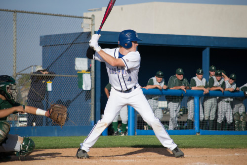 Dana Hills first baseman Jay Schuyler hit a two-run home run against San Clemente on April 8. The hit tied the game up 3-3 and the Dolphins went on to win. Photo: Kevin Dahlgren Dolphins would go on