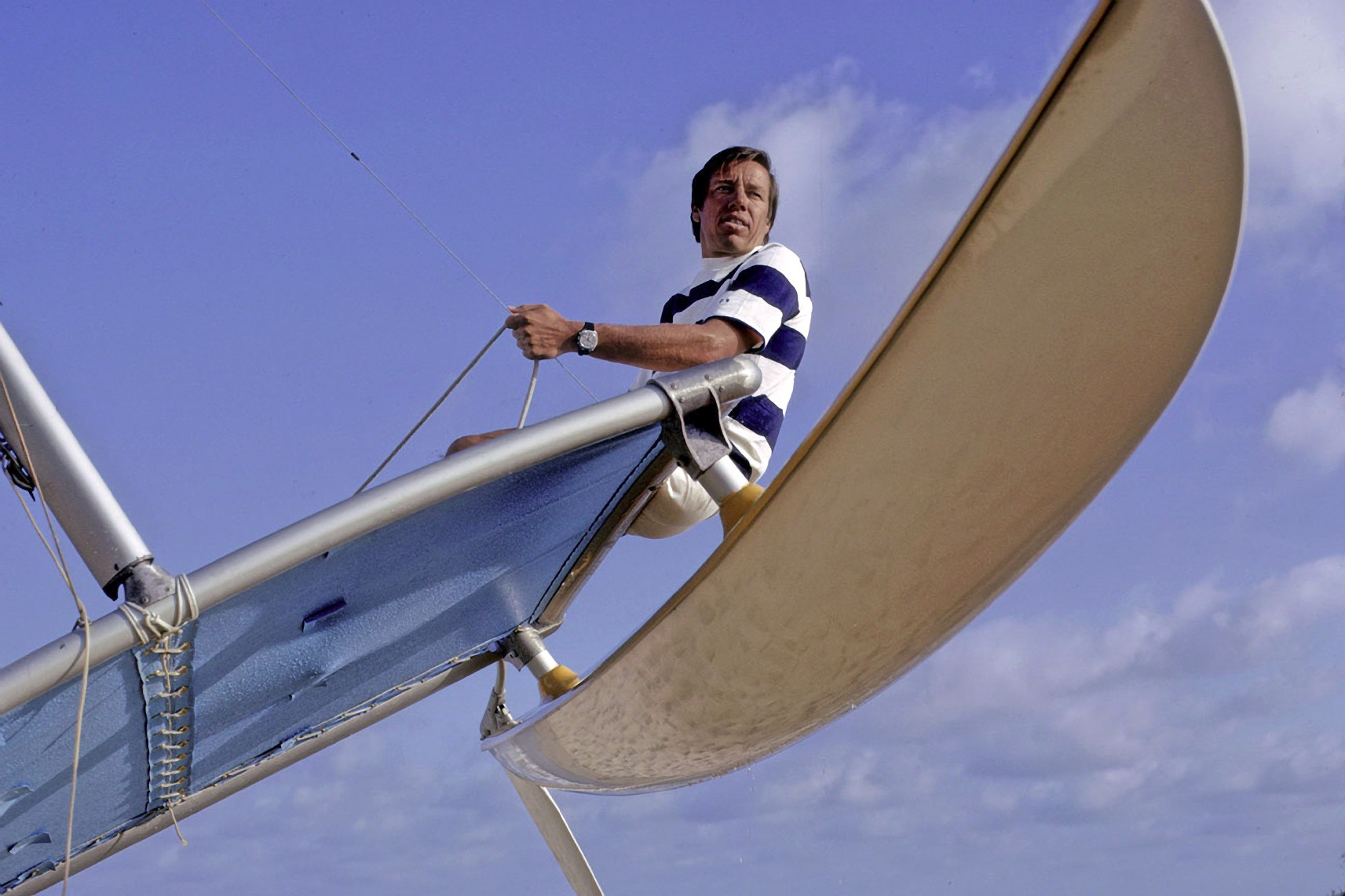"Hobie Alter ""flies"" his invention, the Hobie Cat sail boat. The boat was one of many of Alter's creations that helped to change the face of surfing, sailing and other action sports. Photo: Richard Graham, Courtesy of SHACC"