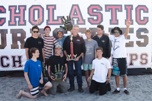 The Dana Hills High School men's shortboard team took first place in their division at the 2013-2104 SSS State Championships. Photo by Sheri Crummer