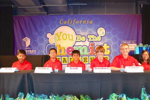 California You Be The Chemist finalists (L to R) Brian Chap, Matthew Kim, Ayush Nabar, Brenden Gibson, Conlan Taylor and Sharleen Loh prepare for the final round of state competition. Courtesy photo