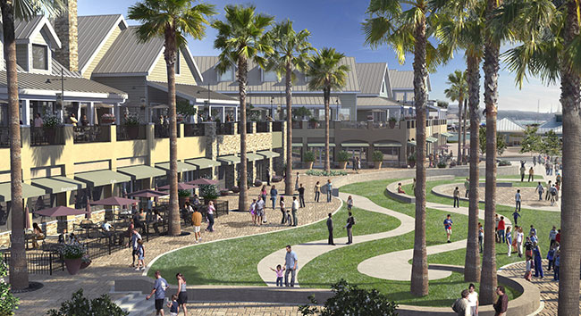 Dana Point Harbor revamp plans include the demolition of buildings currently housing local retailers and eateries. Those buildings are slated for replacement with seven new buildings and a 35,000-square-foot park. Rendering courtesy of Orange County