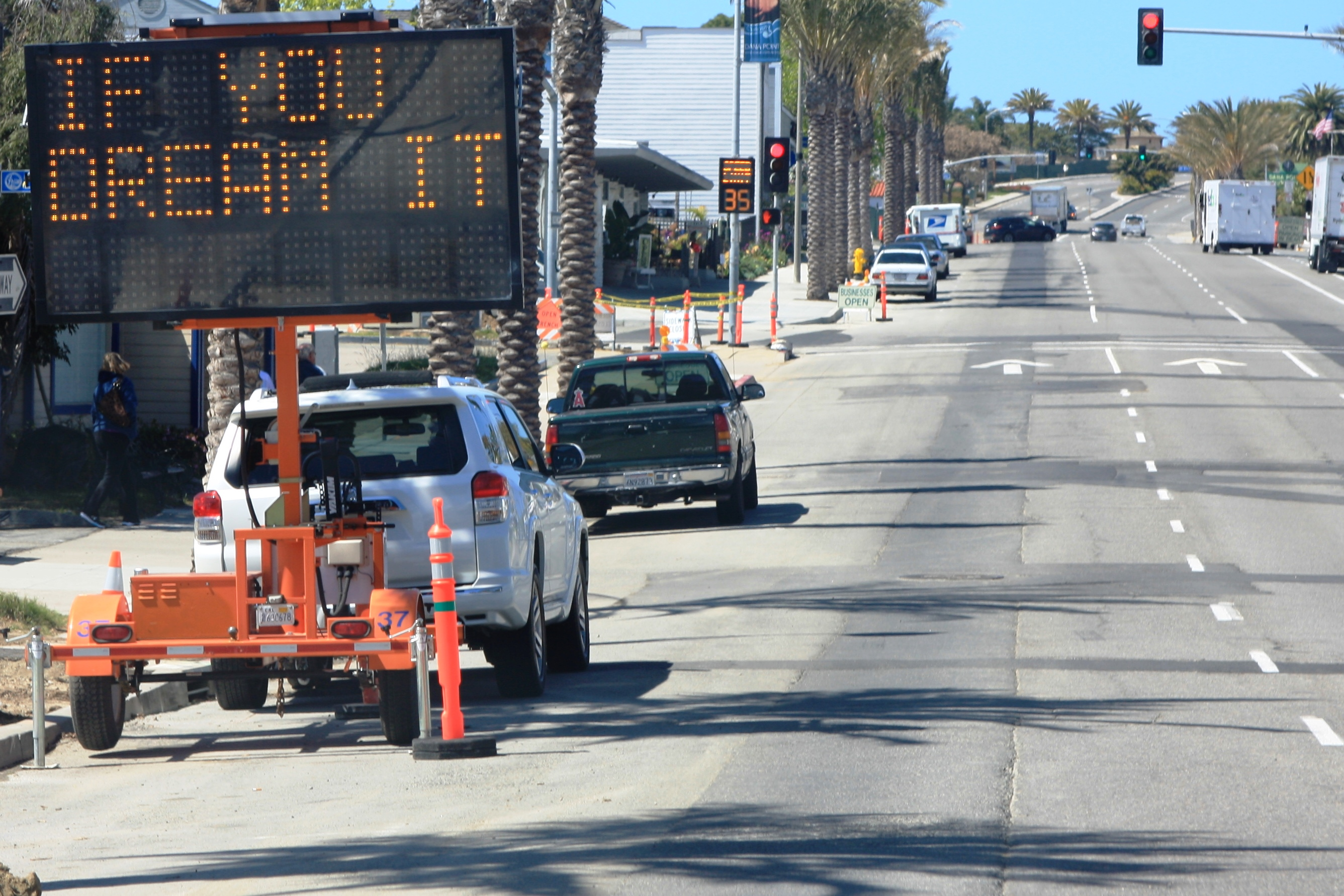 City staff has been placing humorous messages in with traffic and construction alerts to lighten a sometimes frustrating situation for drivers. Photo: Andrea Swayne