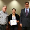 Capistrano Unified Trustee Jim Reardon (left) and Board President John Alpay (right) recognized San Juan Hills High School graduate Jessica Boerner, who will be attending the United States Military Academy. She is one of eight CUSD students who have accepted appointments to U.S. service academies. Courtesy of the Capistrano Unified School District