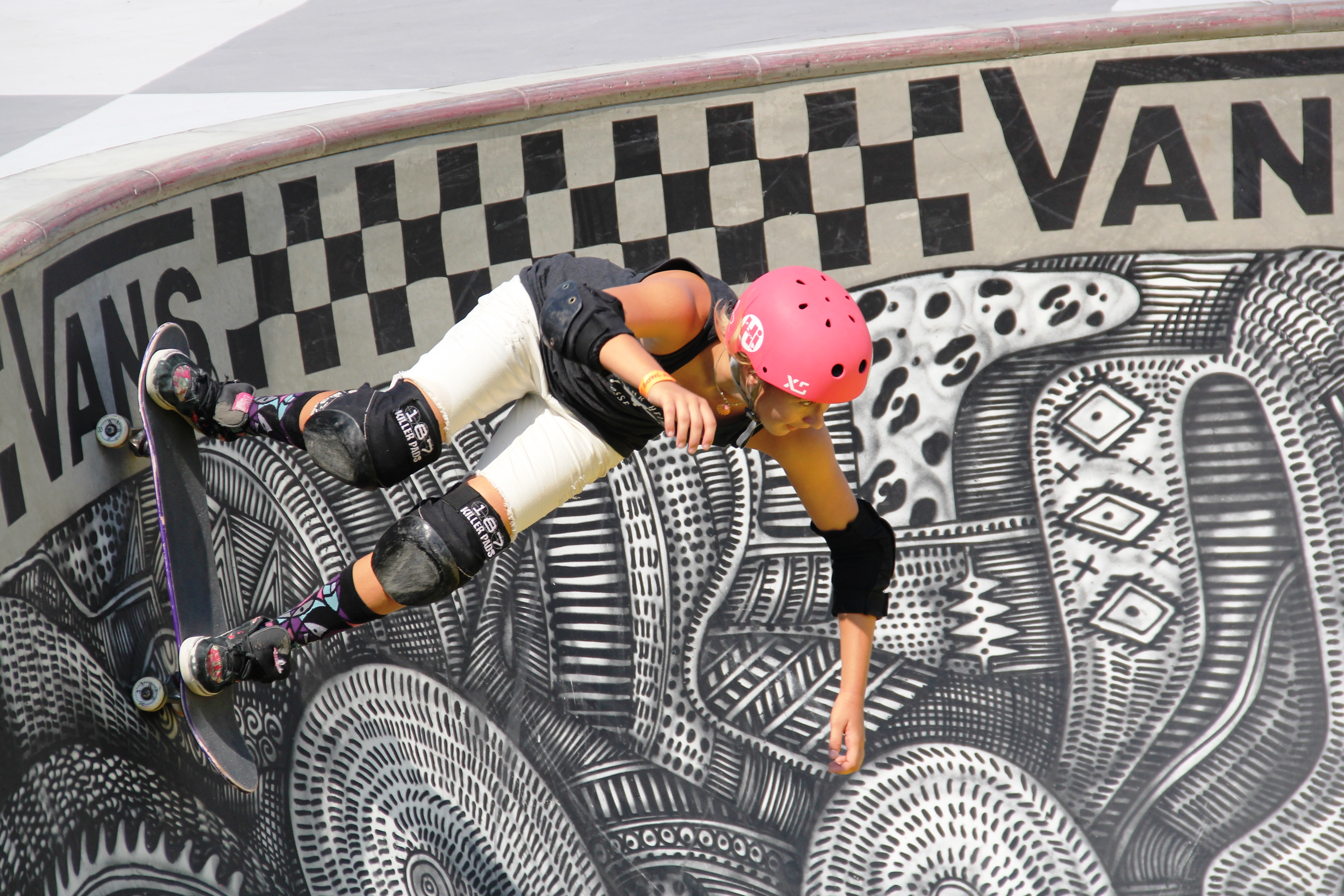 Fifteen-year-old Jordyn Barratt, from Encinitas, was one of three female amateur skaters to compete in the Vans Skateboard tournament at the US Open of Surfing in Huntington Beach. She's also a vital member of the Pink Helmet Posse. Photo: Sean Robb