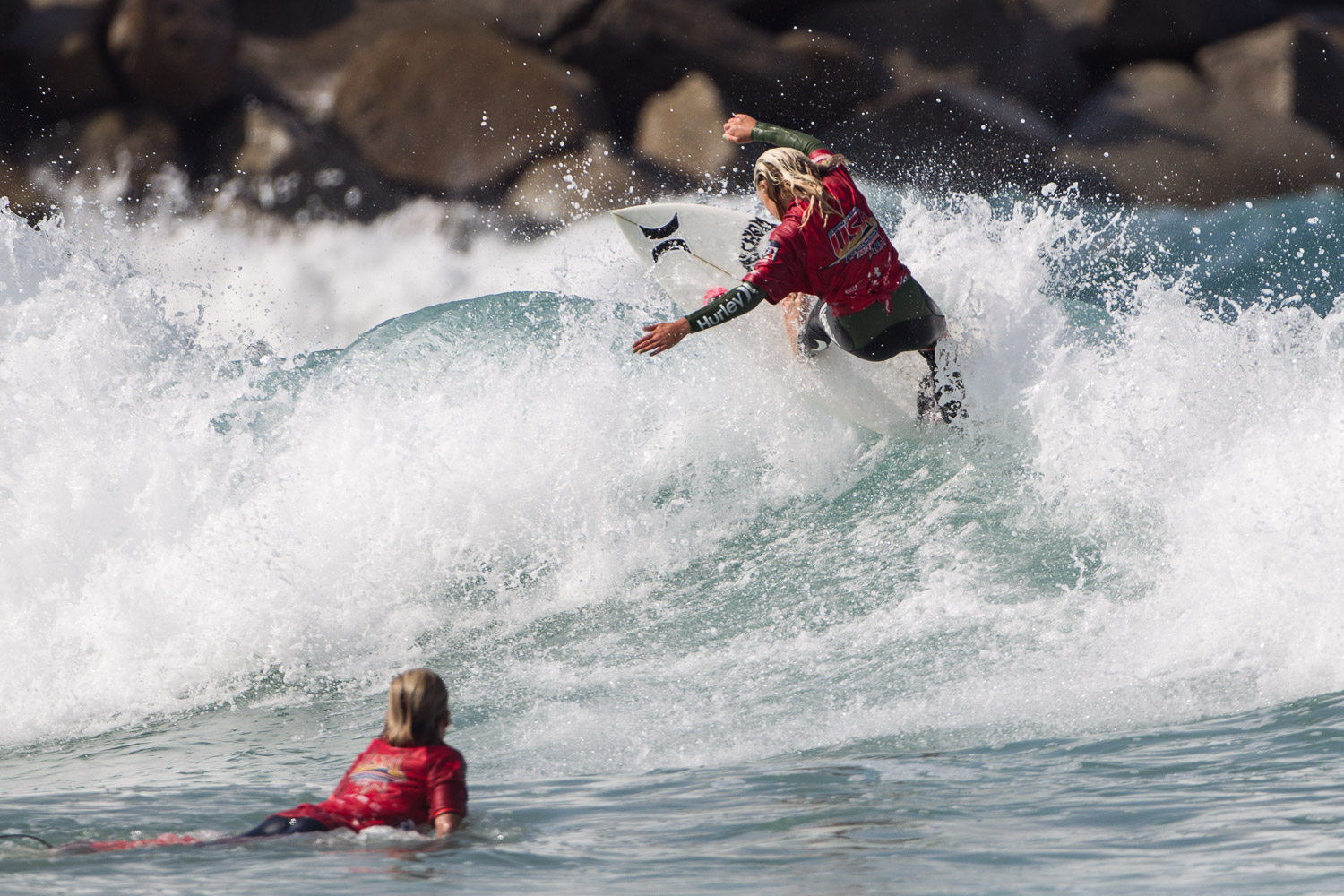 Kirra Pinkerton of San Clemente took top honors in Girls U16 at the Surfing America Prime season kick-off, Aug. 9-10 at Camp Pendleton, DMJs. Photo: Jack McDaniel