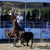 A rodeo cowboy attempts to reel in a steer during the team roping competition. Photo: Alan Gibby/Zone57 Media