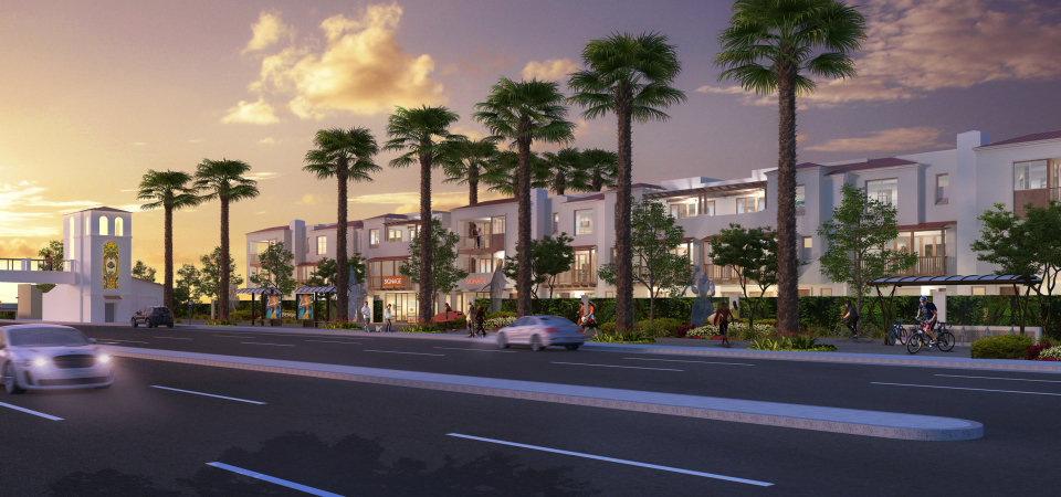 This rendering, provided by Capital Hall Partners, shows a view of their mixed-use project proposed for the vacant land near Pacific Coast Highway and Del Obispo Street, once occupied by a mobile home park.