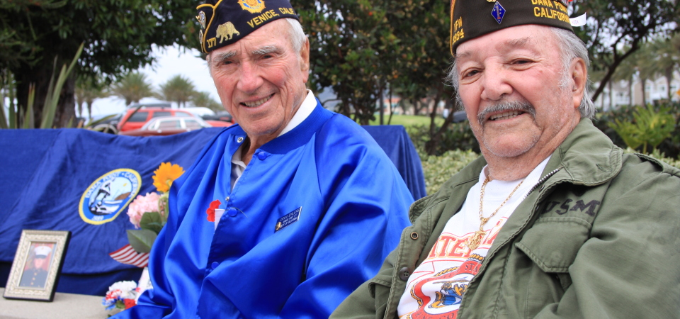 Dana Point Veterans of Foreign Wars Post 9934 members Doug Ehlers and Raymond Gray, both World War II vets, attend the Veterans Day celebration at Strand Vista Park on Tuesday. Photo: Andrea Swayne