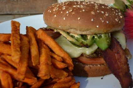 Avocado-Bacon-Cheeseburger-with-Sweet-Potato-Fries-500x340