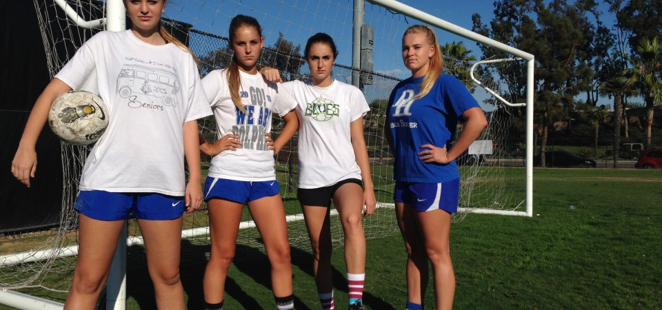 Seniors Sophia Gullickson, Meghan Shaver, Lexi Marietti and Elizabeth Durst look to lead the Dana Hills girls soccer team in 2014. Photo: Steve Breazeale