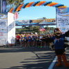 Turkey Trot mascot Drumstick entertains at the starting line. Photo: Andrea Swayne