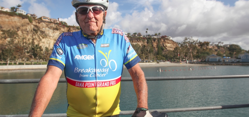 Steven Weinberg pauses for a photo on Thursday at the Dana Point Harbor before embarking on one of his twice-weekly rides. Photo: Allison Jarrell