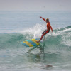 Rachael Tilly of Capistrano Beach finished second in Junior Women 15-25 at the Doheny Longboard Association Gathering of the Tribes, Jan. 10-11 at Church Beach. Photo: Steve Ryan