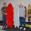 Barry Haun, SHACC curator and creative director (left) and Carl Eckstrom, pioneering asymmetrical surfboard shaper, stand with a couple of Eckstrom's boards among a room full of others that will be on display from Feb. 7 through April in an exhibition of unconventional board design. Photo: Andrea Swayne