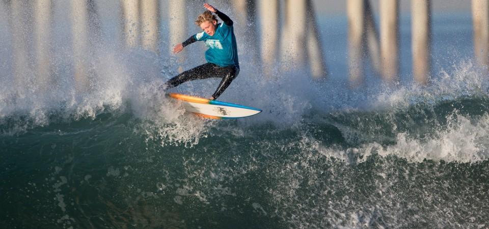 Deisel Rathgeber (San Clemente) at WSA event No. 7, Feb. 14-15, Huntington Beach Pier. Photo: Jack McDaniel