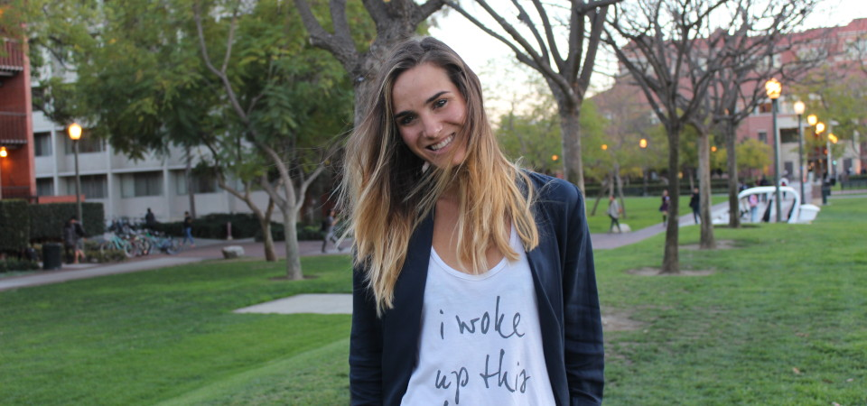 Heidi Burns, from Dana Point, is finding happiness as an entrepreneur, sharing a positive message inspired by surviving two surgeries to correct her congenital heart defect. Burns is shown here at USC where she is studying social entrepreneurship. Photo: Madi Swayne