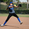 Dana Hills sophomore Serafine Parrish pitched 5 2/3 innings against San Clemente on March 24. Photo: KDahlgren Photography