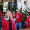 San Clemente City Councilwoman Kathy Ward speaks to a crowd of San Clemente Hospital and ER supporters at a rally at San Clemente Villas. Photo: Jim Shilander