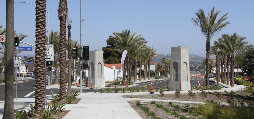 Construction in the Town Center-Lantern District continues to progress, including this nearly completed gateway to Del Prado Avenue. Photo: Andrea Swayne