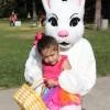 Natalie Baltazar, 2, of Dana Point, meets the Easter Bunny. Photo: Andrea Swayne