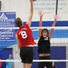 Dana Hills' Jake Lorscheider, right, goes up for a block against San Clemente on April 2. Photo: Lynn Hopper
