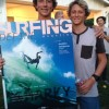 Griffin Colapinto (left) and brother Crosby with an enlargement of the latest cover of SURFER Magazine featuring a shot of Griffin, airborne in Santa Barbara. Photo: Courtesy