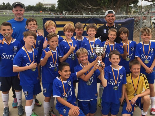 The SC Surf boys 12 team won their division at the Rebels Cup in San Diego on June 14. Photo: Courtesy