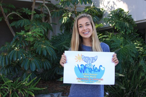 Camden Butterworth, a sophomore at Dana Hills High School, has been chosen as the logo design contest winner for the 2016 Festival of Whales. Photo: Andrea Swayne