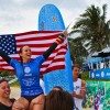 Rachael Tilly of Capistrano Beach is chaired up the beach Tuesday in China after winning the World Surf League 2015 Women's World Longboard Championship. Photo: WSL/Hain