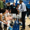 Dana Hills boys basketball head coach Tom Desiano talks with his team during a South Coast League game on Jan. 8. Photo: KDahlgren Photography