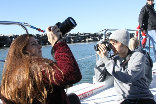 Dana Hills High School students get their cameras set up at the start of the Festival of Whales field trip. Photo: Andrea Swayne