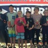 Division 1 Boys Shortboard finalists at event No. 4, Feb. 20 at Oceanside Pier were (L to R) were from Shorecliffs, 1. Nicholas Coli, 2. Kai McPhillips, 3. Myles Biggs and 4. Taj Lindblad, 5. Kiko Nelsen from Thurston and Max Beach (Shorecliffs). Photo: Scott Graham