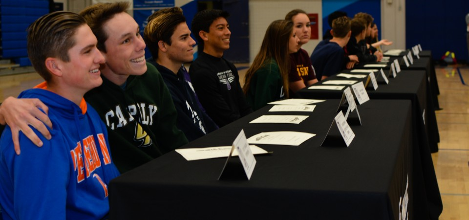 Dana Hills High School student-athletes gathered in the gym for a signing day celebration on Feb. 3.
