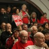 Members of the Save San Clemente Hospital Foundation, which includes Dana Point/Capistrano Beach residents, attended Tuesday night's San Clemente City Council meeting in droves, many holding signs and sporting red T-shirts in support of keeping the hospital and ER open. Photo: Eric Heinz