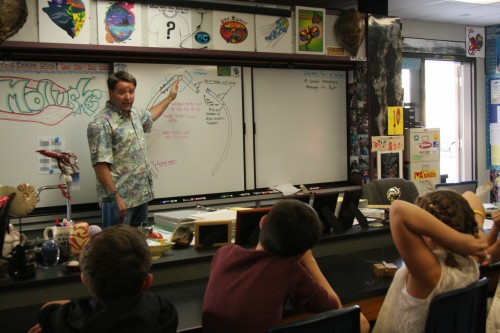 Randy Hudson, Dana Hills High School marine ecology teacher, gives a lesson on whale biology, ocean ecology and building a whale skeleton model with single-use plastics. Photo: Andrea Swayne