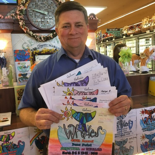 The DP Times and Dana Point Festival of Whales judged the festival coloring contest on March 15 at Gelson's in Dana Point. Store Director Tom Oliphant is shown here with the winning entries, submitted by area elementary school students. We'd like to thank Gelson's for displaying the more than 5,000 entries received. Photo: Andrea Swayne