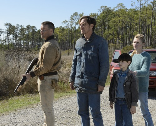 "(L to R) Joel Edgerton as Lucas, Jaeden Lieberher as Alton and Kirsten Dunst as Sarah in sci-fi thriller ""Midnight Special."" Photo: Ben Rothstein/Warner Brothers"