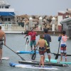 Mickey Munoz (red shirt) instructs paddleboarders in the Dana Point Harbor during the Mongoose Cup on April 9. Photo: Steve Breazeale