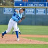Dana Hills junior pitcher Hans Crouse threw a complete game shutout in a 6-0 Dolphins victory over Villa Park in the Anaheim Lions Tournament on March 30. Photo: KDahlgren Photography