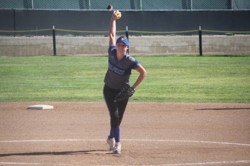 Dana Hills softball's junior pitcher Serafine Parrish struck out 15 Aliso Niguel batters in a 10-0 complete game shutout victory on April 19. Photo: Steve Breazeale